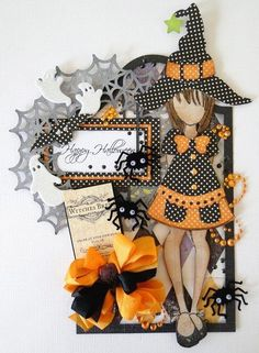 Halloween themed Julie Nutting Prima doll stamp card from www.scrapbook.com: