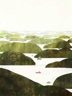 插画师Jon Klassen清新梦幻的绘本插画作品 Jon Klassen, Geometric Designs, Folk Art, Popular Art, Block Patterns