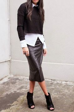 Office look | Crop sweater over white blouse and burgundy leather skirt
