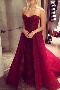 Lace prom dress, ball gown, beautiful red lace small train long prom dress