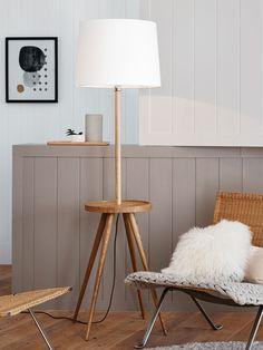 Haines 1 Light Floor Lamp in Ash/White
