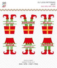 Elf Legs Split Patterned Christmas Frame DXF SVG EPS png vinyl winter cut file Cricut Design, Silhouette studio, Sure Cuts A Lot, digital by SvgCutArt on Etsy