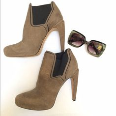 """Circus by Sam Edelman suede booties These booties are so comfortable and sexy!!  Dark tan/black with 5"""" heel and 1"""" platform.  FP0290815 Sam Edelman Shoes"""