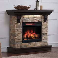 Classic Flame Eugene - Infrared Electric Fireplace Mantel Package in Aged Coffee Electric Fireplaces Direct, Stone Electric Fireplace, Fake Fireplace, Fireplace Tv Stand, Fireplace Design, Rustic Mantel, Rustic Fireplaces, Farmhouse Fireplace, Stairway Decorating