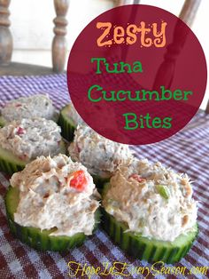 Zesty Tuna Cucumber Bites. I would use my melon baller and put tuna IN the cucumbers.  I'm fancy like that ;)