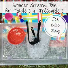 Summer Sensory Bin for Toddlers and Preschoolers — Ice Cube Play http://momtessorilife.com/2017/07/28/summer-sensory-bin-for-toddlers-and-preschoolers-ice-cube-play/?utm_campaign=crowdfire&utm_content=crowdfire&utm_medium=social&utm_source=pinterest