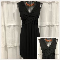 XS - ANN TALOR LOFT Womans Black Knot Front Empire Waist Dress  | eBay