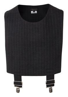 Comme des Garcons Homme Plus   Pinstripe Sleeveless Wool Vest Black   Shop Now at Hervia.com