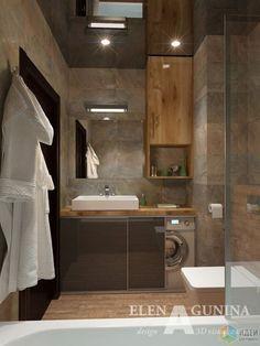 Idée décoration Salle de bain  Sliding cabinet doors to conceal front load washing machine