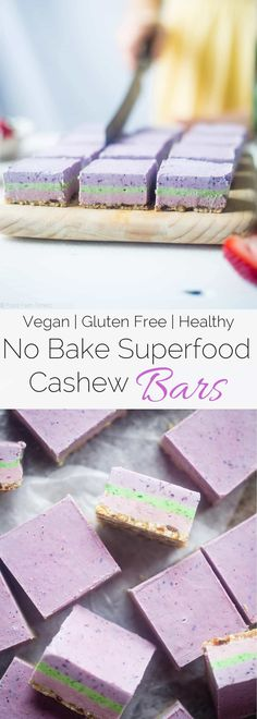 No Bake Superfood Berry Cashew Cream bars These vegan bars are naturally colored with fruit and vegetables! They're so creamy you'll never know they're healthy and dairy and gluten free! Perfect for is part of Raw vegan desserts - Cake Vegan, Raw Vegan Desserts, Raw Cake, Vegan Treats, Vegan Foods, Vegan Snacks, Healthy Sweets, Healthy Dessert Recipes, Healthy Baking