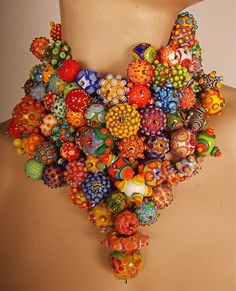 art jewelry - necklace by Jenine Bressner - glass beads  sterling silver