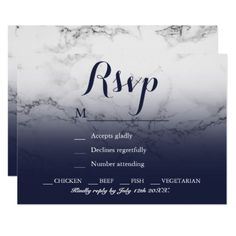 Chic white marble ombre navy blue RSVP Card - customizable diy