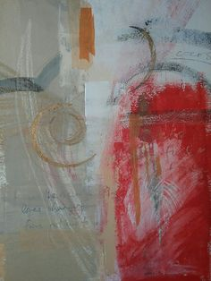Mixed Media on paper  red with gold leaf