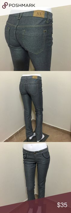 A/X Armani Exchange Blue Jeans GOLD Dust Sz 2 EUC Label- A/X Armani Exchange Style- Low rise, skinny skinnies jeans- denim blue infused with gold lurex threads, narrow leg openings, almost like a jegging.  Fabric-75%Cotton, 23 Polyeste, 2%Spandex Size-2 Measurements- Waist- 24, Hip- 35 Length-33 Rise-8  Origin-Hong Kong Condition- worn once, EUC looks amazing with Cream Gold Lame Fuzzy 80s Vintage Sweater! A/X Armani Exchange Jeans Skinny