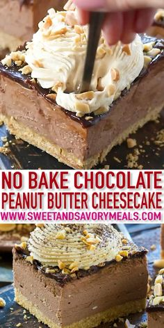 Chocolate Peanut Butter Cheesecake [VIDEO] – Sweet and Savory Meals Chocolate Peanut Butter Cheesecake with no cracks or cooking time, because this delicious cheesecake is no bake with an amazing creamy texture. No Bake Desserts, Dessert Recipes, Easter Recipes, Brownies, Chocolate Peanut Butter Cheesecake, Chocolate Butter, Chocolate Cookies, Vegan Chocolate, Cupcakes