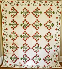 1846 Signed & Dated Antique Applique Peony & Urns Quilt, Cow Hollow Collectibles, Ruby Lane
