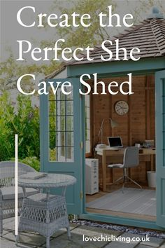She Cave Sheds are the new man caves. Ladies, it's time to create your own she cave shed studio! In this post, we're talking about designing your very own she shed cave office, she shed interiors, she cave bars or simply a relaxing place for you to escape to! #lovechicliving Contemporary Garden Rooms, Shed Interior, Relaxing Places, Potting Sheds, Woman Cave, Garden Spaces, Greenhouses, Caves, Color Themes