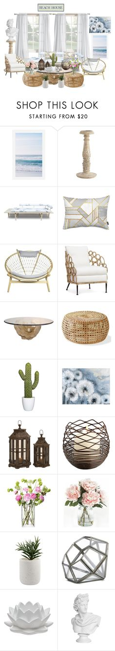 """Beach House! - Living Room"" by allyssister ❤ liked on Polyvore featuring interior, interiors, interior design, home, home decor, interior decorating, Pottery Barn, Volk, Palecek and LSA International"