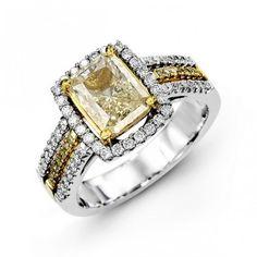14K White Gold Halo Style Diamond Engagement Ring 0.42 ct wht 0.10 ct