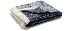 Traditional Nordic Wool Blanket (Navy)