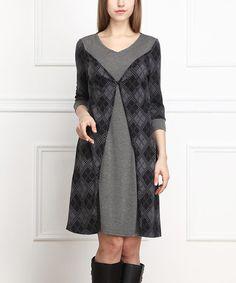 Love this Charcoal Argyle-Panel A-Line Dress on #zulily! #zulilyfinds