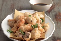 Funghi in pastella con salsa in agrodolce