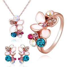 Multi-color Crystals Flower Stud Earrings and Pendant Necklace Ring Fashion Jewelry Set