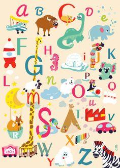 Poster abécédaire Affiche, poster Alphabet pour la décoration de la chambre ou de l'école : une déco ludique pour les enfants   SAPRISTIPOPETTE alphabet poster animales kids 18€