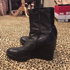 ROBERT CLERGERIE BLACK WEDGE BOOTS SZ 9 Great leather wedges. Not sure I really want to sell them! Worn but in superb condition. If sold, I will have polished before shipping. Robert Clergerie Shoes Ankle Boots & Booties
