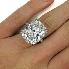 Tiffany & Co. GIA Certified 18.48Ct D IF Type IIA Cushion Diamond Platinum Ring 8