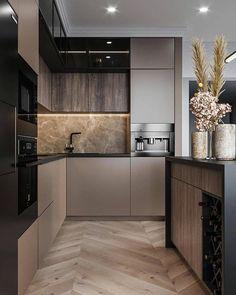 Loft Kitchen, Kitchen Room Design, Kitchen Cabinet Design, Modern Kitchen Design, Living Room Kitchen, Interior Design Kitchen, Kitchen Wood, Kitchen Island, Contemporary Kitchen Cabinets