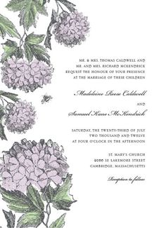 Elegant hydrangeas reminiscent of an antique botany etching adorn this botanical wedding invitation for a clean, classic feel. A small bee evokes the sweet hum of summer. Shown in lavender.