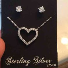 Sterling silver heart necklace&earring set Bundle up and save Jewelry Necklaces