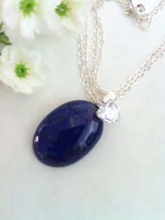 AA Grade Oval Deep Navy Blue Natural Lapis Lazuli by SwamiJewelry, $45.00