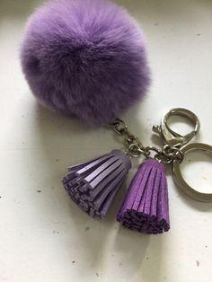 Fur pom pom keychain purple REX Rabbit bag charm by YogaStudio55