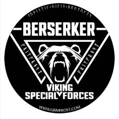 """Round sticker with the print: """"Berserker, Viking Special Forces"""", a Valknut tripple-triangle and a roaring bear. The Valknut is a symbol of Odin, the god o Viking Life, Viking Warrior, Viking Raven, Norse Tattoo, Viking Tattoos, Viking Facts, Roaring Bear, Viking Berserker, Viking Quotes"""