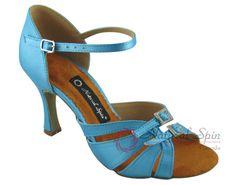 Natural Spin Latin Shoes(Open Toe, Adjustable):  M1131-07a_BlueCS