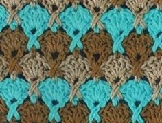 Crochet Stitch - Chart - this looks like a ripple stitch but it is made of half wheels!