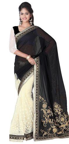 b604981a40 YSK Black Beige Party Saree Georgette Net Embroidery Border Indian Sari