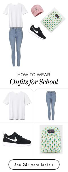 """""""School"""" by oloferlaperla on Polyvore featuring Topshop, NIKE, The Hundreds and JanSport"""