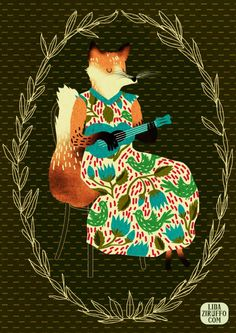 fox play ukulele #lida #ziruffo #illustration #fox #nature