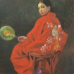Sophie MORISSE, L'Eventail de papier, 80 x 80 cm, huile sur toile