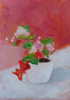 Flower painting pink and white art pink and red wall by pamelam