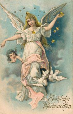 c1903 German Frohliche Weihnachten Merry Christmas Angel Emb. Postcard