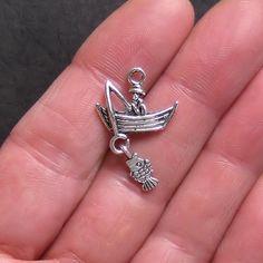 5 Fishing Charms Antique Tibetan Silver Tone by BohemianFindings, $2.50
