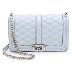 Rebecca Minkoff Love Cross Body Bag (425 AUD) ❤ liked on Polyvore featuring bags, handbags, shoulder bags, bleached blue, crossbody handbags, leather shoulder bag, leather purse, rebecca minkoff crossbody e crossbody purse