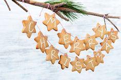 Weihnachtsstern Girlande aus Salzteig