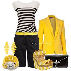 #475 - Black, white, yellow, created by elke-koscher on Polyvore
