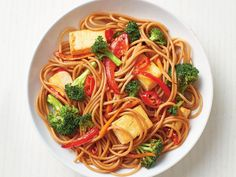 Spicy Tofu and Vegetable Lo Mein Recipe - Food Network Tofu Recipes, Asian Recipes, Vegetarian Recipes, Dinner Recipes, Cooking Recipes, Ethnic Recipes, Easy Recipes, Vegan Meals, Healthy Dinners