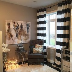 Black White Cabana Wide Horizontal Stripe Curtains   Grommet   84 96 108 Or  120 Long